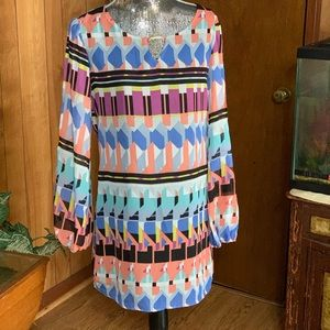 City triangles multi color peekaboo sleeves dress